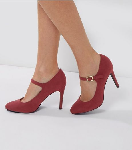 Dark Red Comfort Suedette Strap Front Court Shoes | New Look
