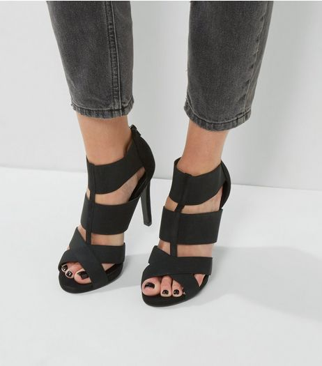 Black Elasticated Heeled Sandals | New Look