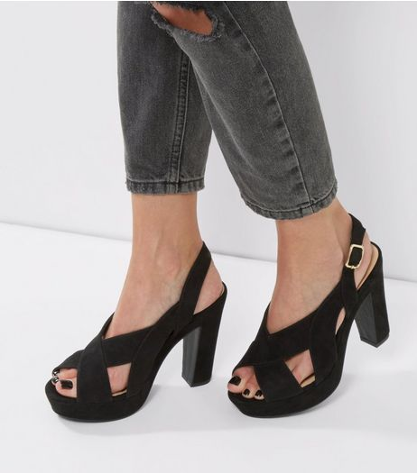 Black Suedette Cross Front Platform Sandals | New Look