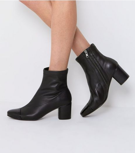 Black Leather Contrast Toe Cap Boots | New Look