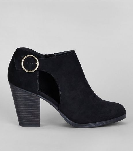Black Suedette Cut Out Side Shoe Boots | New Look