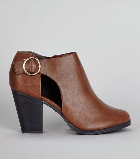 Brown Cut Out Side Shoe Boots | New Look