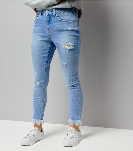 Teens Blue Ripped Extreme Frayed Hem Skinny Jeans | New Look