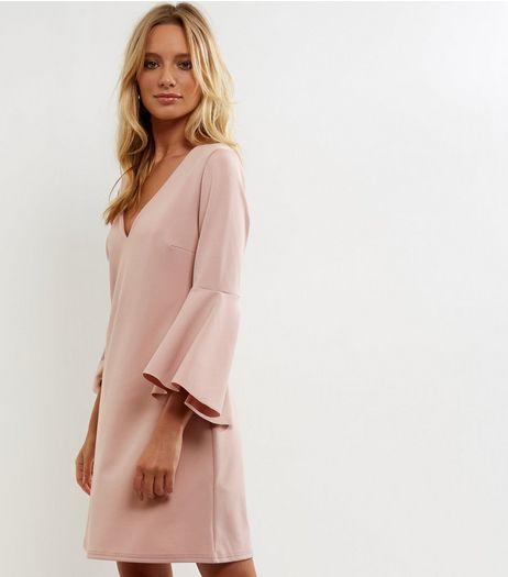 Pink V Neck Bell Sleeve Tunic Dress | New Look