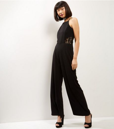Cameo Rose Black Lace Back Jumpsuit  | New Look
