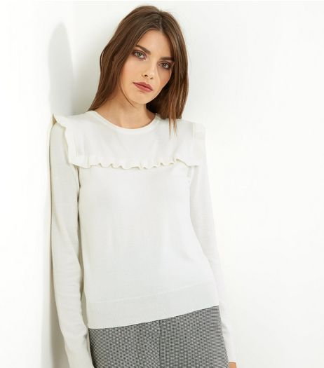 Cameo Rose Cream Frill Trim Jumper | New Look