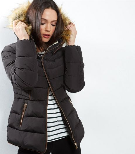 Cameo Rose Black Hooded Puffer Jacket  | New Look