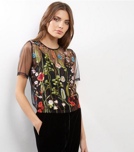Cameo Rose Black Sheer Floral Embroidered Top | New Look
