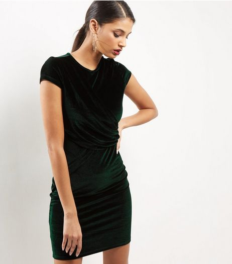 Anita and Green Dark Green Velvet Dress | New Look