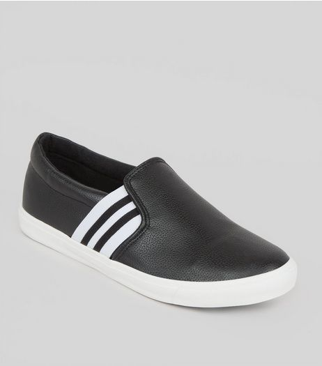 Wide Fit Black Contrast Strap Slip On Shoes | New Look