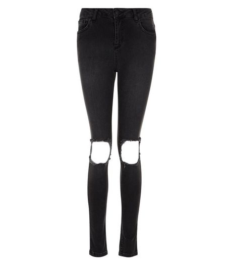 Teens Black Extreme Ripped Knee Skinny Jeans | New Look