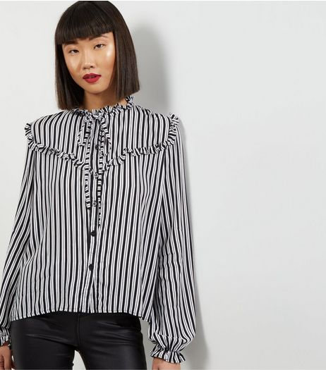 Motel White Stripe Print Funnel Neck Blouse | New Look