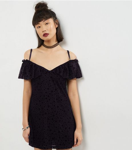 Motel Black Cold Shoulder Flocked Star Print Dress | New Look