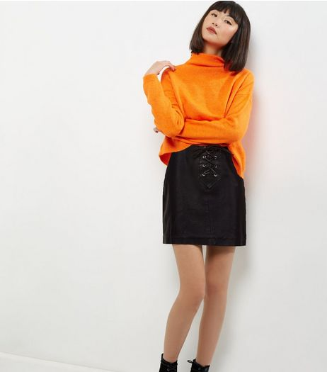 Black Leather-Look Lattice Front Skirt  | New Look