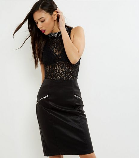 Black Zip Trim Leather-Look Pencil Skirt  | New Look