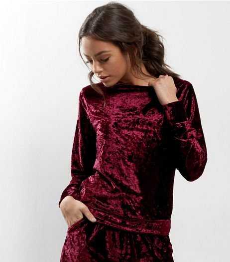 Burgundy Crushed Velvet Crew Neck Top | New Look