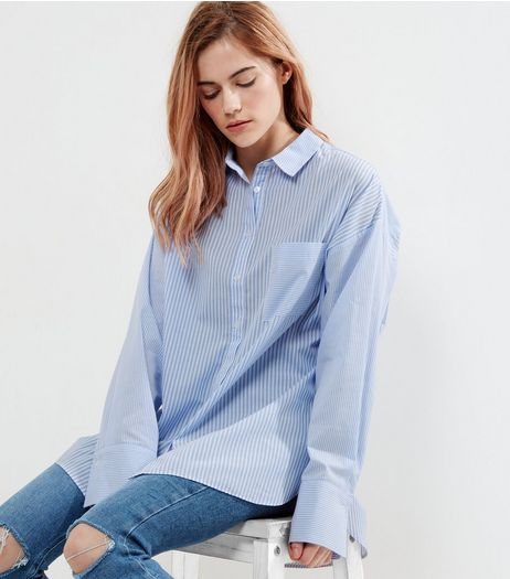 White Stripe Drop Arm Shirt  | New Look