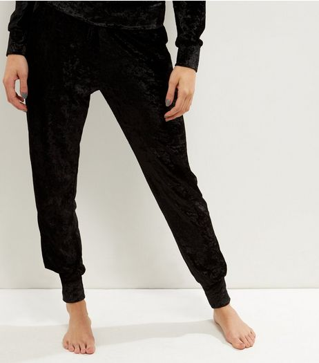Black Tie Waist Velvet Joggers  | New Look