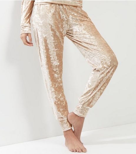 Gold Velvet Joggers | New Look