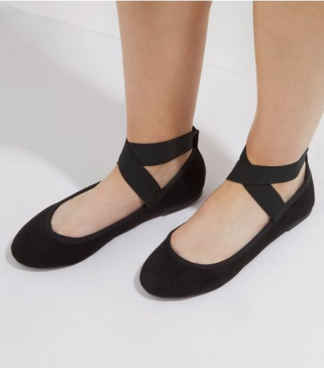 Wide Fit Black Elasticated Strap Pumps | New Look