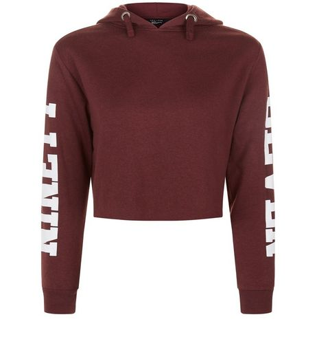 Teens Burgundy Ninety Seven Print Hoody | New Look