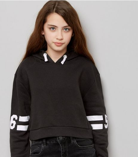 Teens Black Stripe 96 Print Sleeve Hoodie | New Look