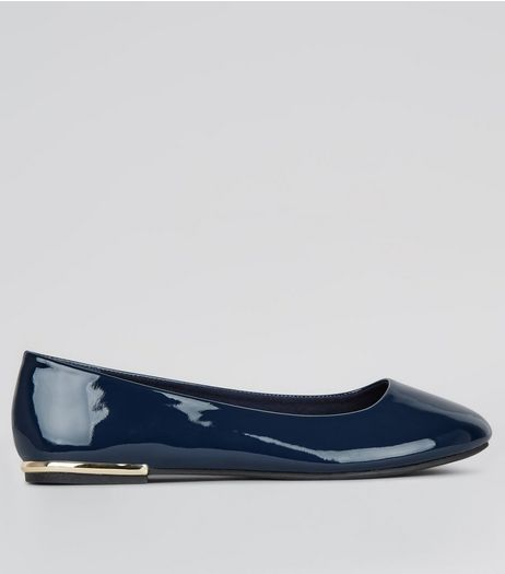 Wide Fit Navy Patent Metal Trim Ballet Pumps | New Look