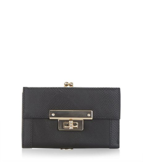 Black Lock Front Purse | New Look