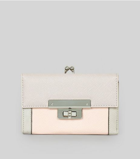 Pink Colour Block Purse | New Look