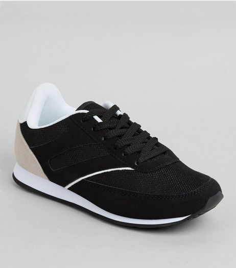 Teens Black Suedette And Mesh Trainers | New Look