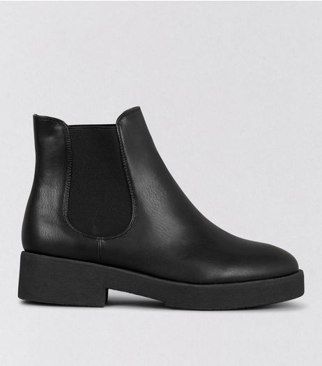 Wide Fit Black Chunky Elasticated Boots | New Look
