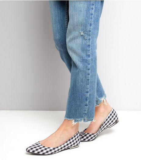 Black Gingham Metal Heel Pointed Ballet Pumps | New Look