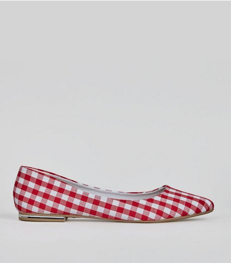 Red Gingham Check Print Pointed Shoes  | New Look