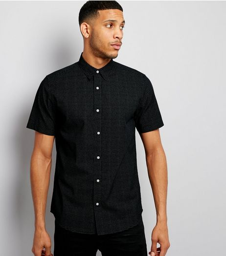 Navy Dash Print Short Sleeve Shirt | New Look