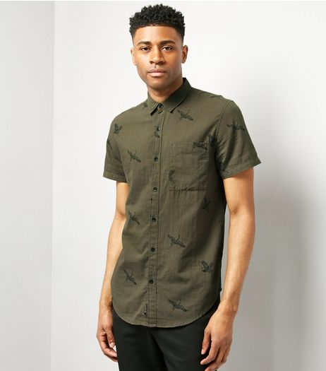 Khaki Bird Print Short Sleeve Shirt | New Look
