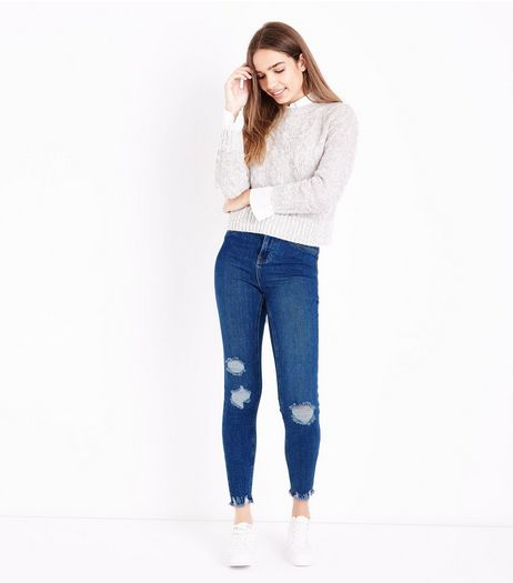 Blue Ripped Skinny Hallie Jeans  | New Look