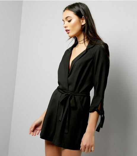 Black Tie Sleeve Tuxedo Playsuit | New Look