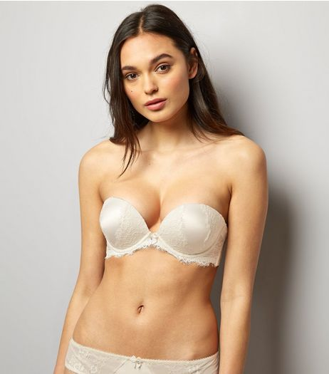 Cream Bridal Satin And Lace Multiway Boost Bra | New Look