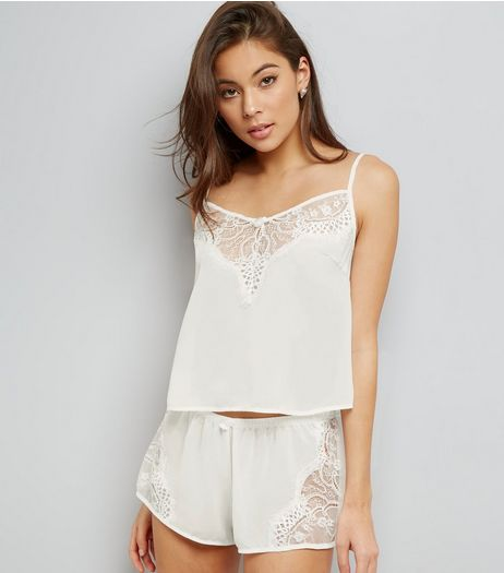 Cream Eyelash Lace Trim Cami And Shorts Set | New Look