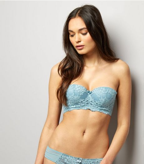 Mint Green Daisy Lace Strapless Bra | New Look
