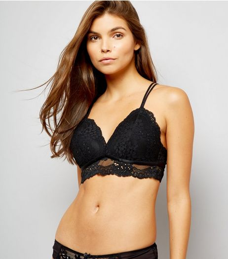 Black Daisy Lace Bralet | New Look