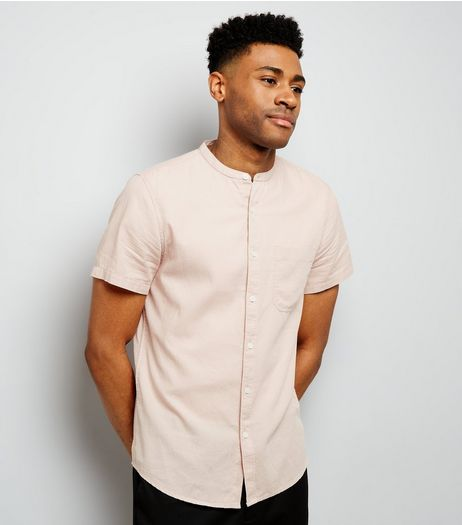 Pink Textured Short Sleeve Grandad Collar Shirt | New Look