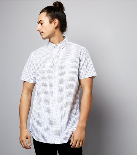 White Bracket Print Short Sleeve Shirt | New Look