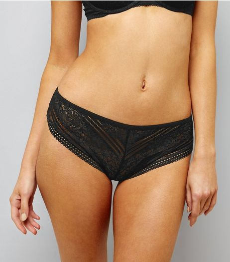 Black Linear Lace Brazilian Briefs | New Look