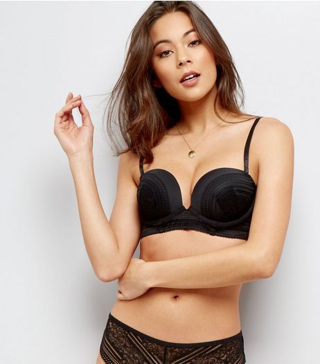 Black Linear Lace Longline Boost Bra | New Look