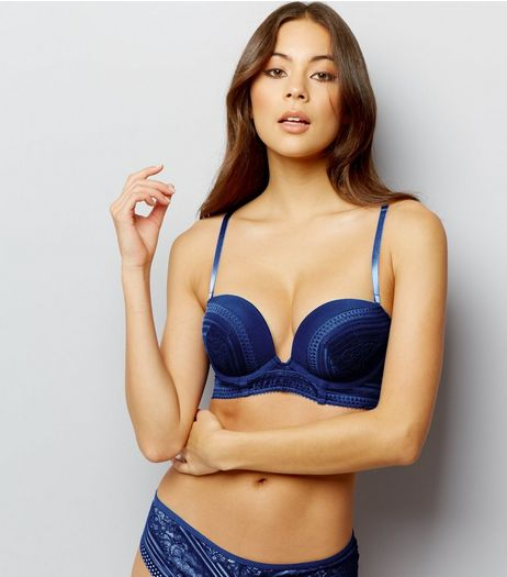 Blue Linear Lace Longline Boost Bra | New Look