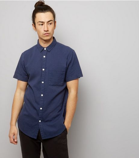 Navy Textured Short Sleeve Shirt | New Look