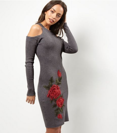 Cameo Rose Grey Ribbed Floral Embroidered Midi Dress | New Look