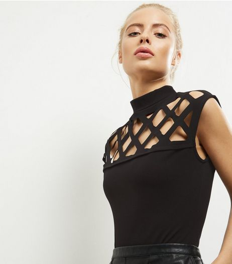 Parisian Black Cut Out Panel Bodysuit  | New Look