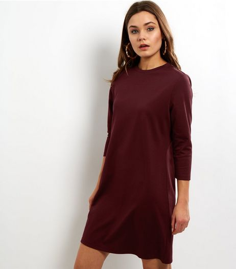 Burgundy 3/4 Sleeve Tunic Dress | New Look
